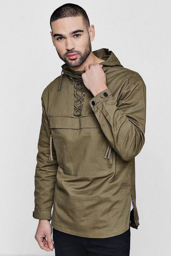 Lace Up Hooded Cotton Cagoule