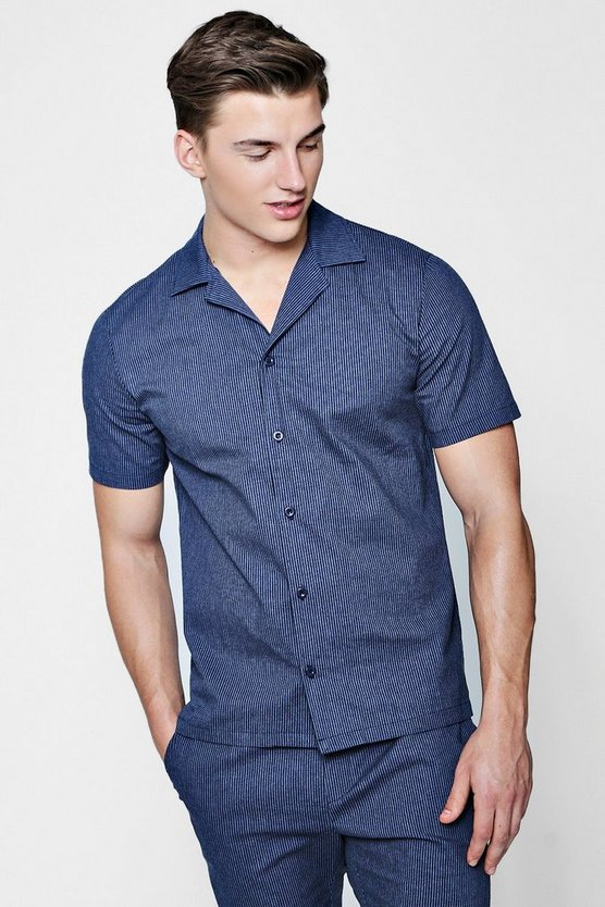 camicia a righe con maniche corte e colletto con revere