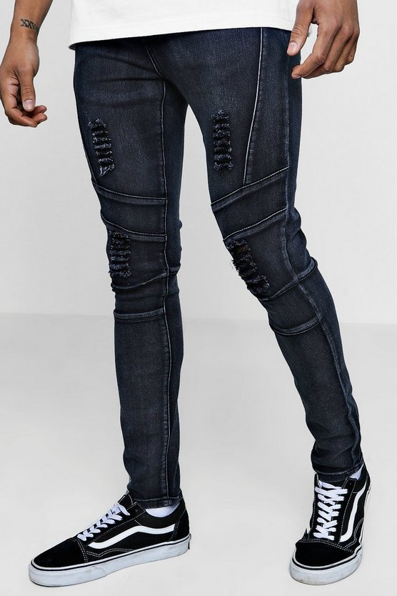 Super Skinny Panelled Jeans With Distressing