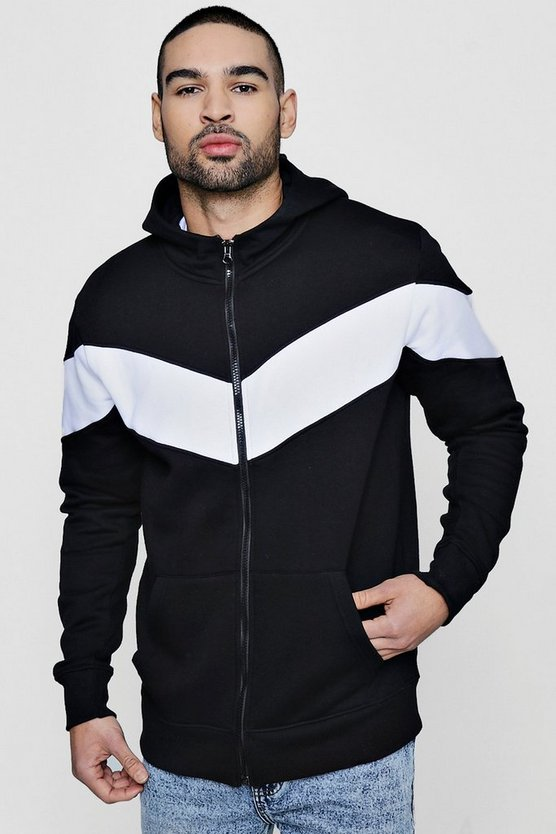 Chevron Panel Zip through Hoodie