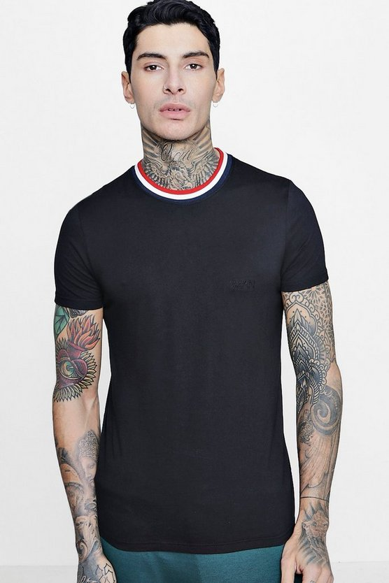T-shirt con bordini a coste sportive MAN