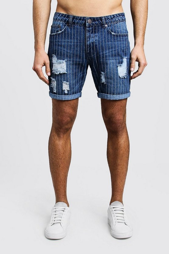 Mid Blue Slim Fit Pinstripe Denim Shorts