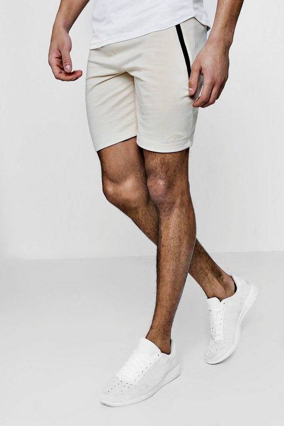 Skinny Fit Shorts With Contrast Sports Zip