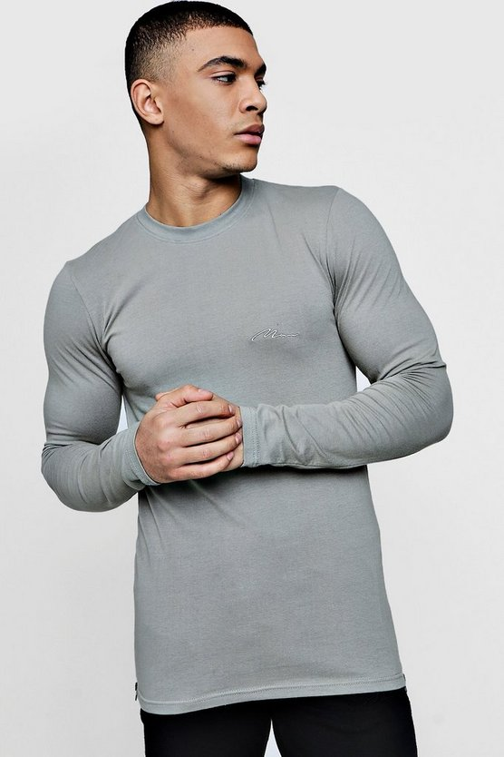 MAN Signature Long Sleeve Muscle Fit T-Shirt