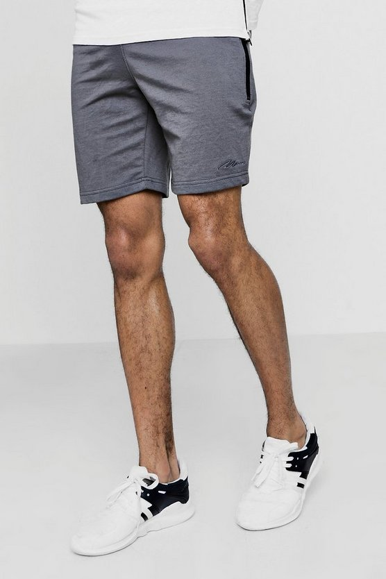 MAN Signature Skinny Fit Shorts With Sports Zip