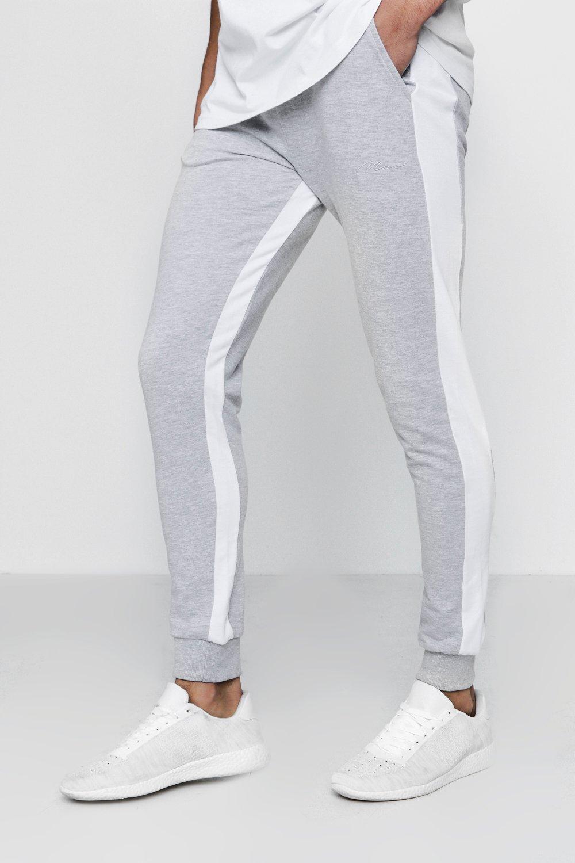Купить Повседневная одежда, Фирменные узкие брюки для бега из вставок в полоску с надписью MAN, boohoo
