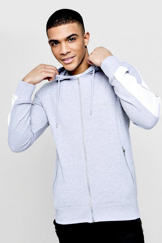 MAN Signature Muscle Fit Hoodie With Striped Sleeve