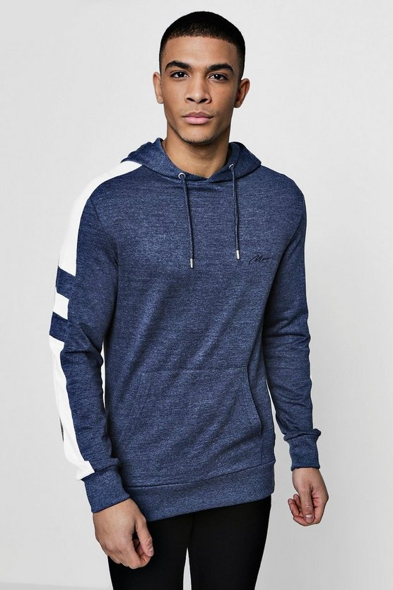 MAN Signature Muscle Fit Panelled Hoodie
