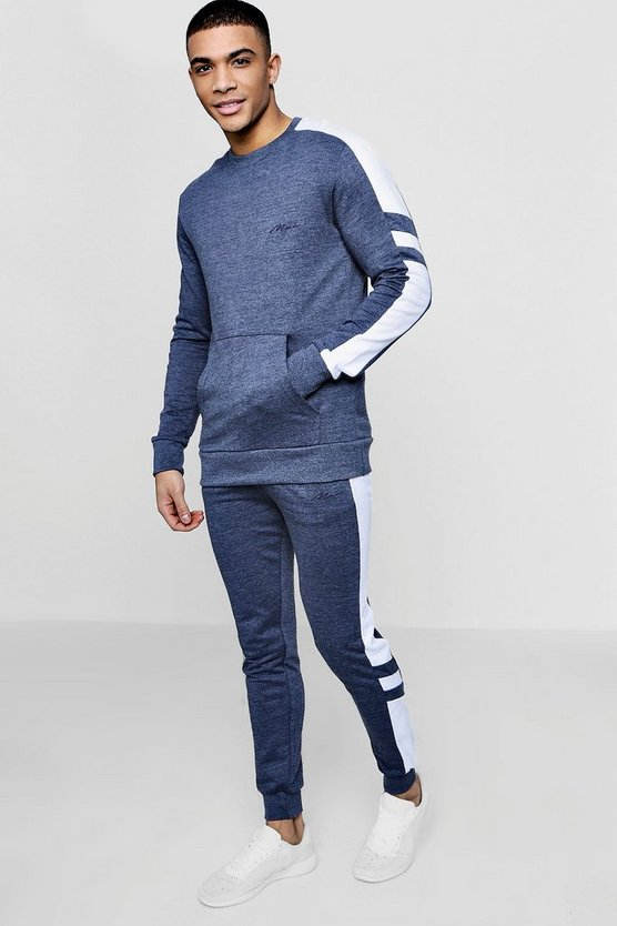 MAN Signature Muscle Fit Sleeve Panel Tracksuit