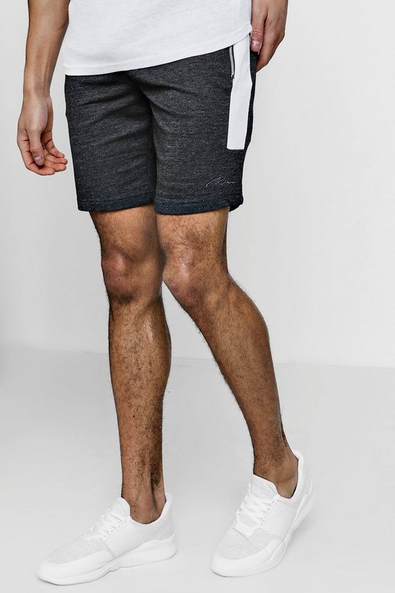 MAN Signature Skinny Fit Contrast Panelled Shorts