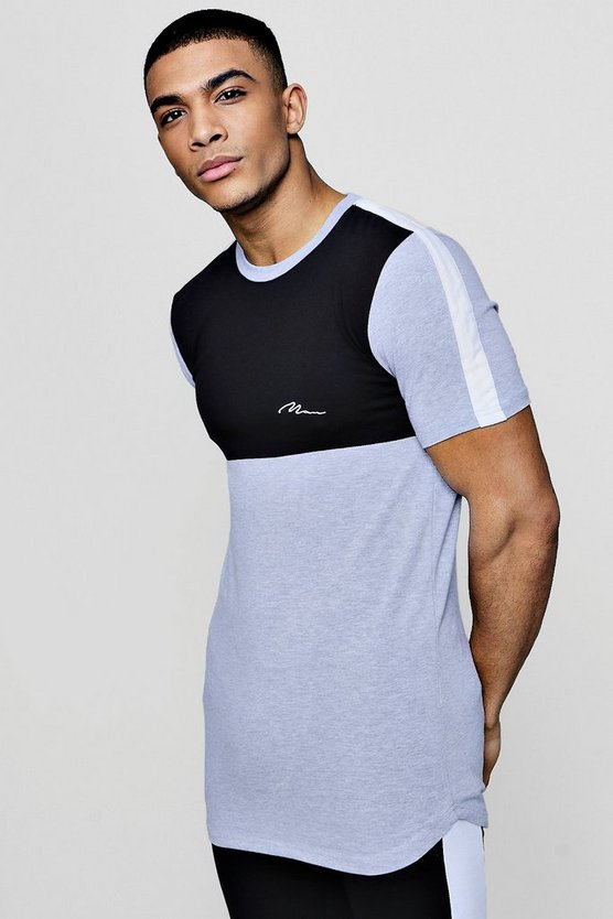 Longline Muscle Fit Colour Block T-Shirt