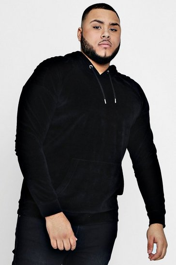 Slate Big And Tall Biker Velour Hoodie