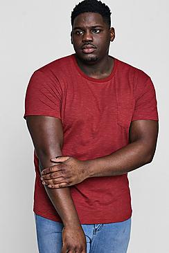 Big and tall T-shirt girocollo con maniche arrotolate