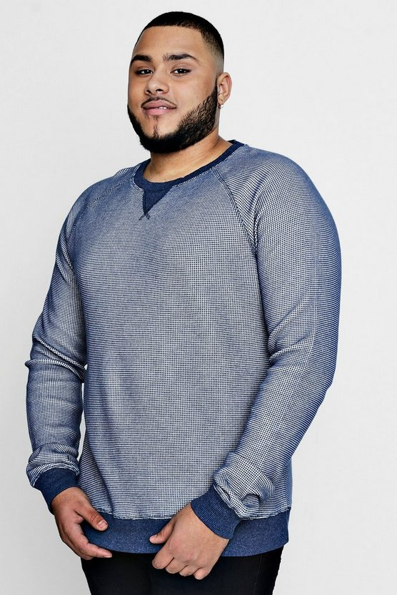 Big And Tall Waffle Knit Raglan Sweater