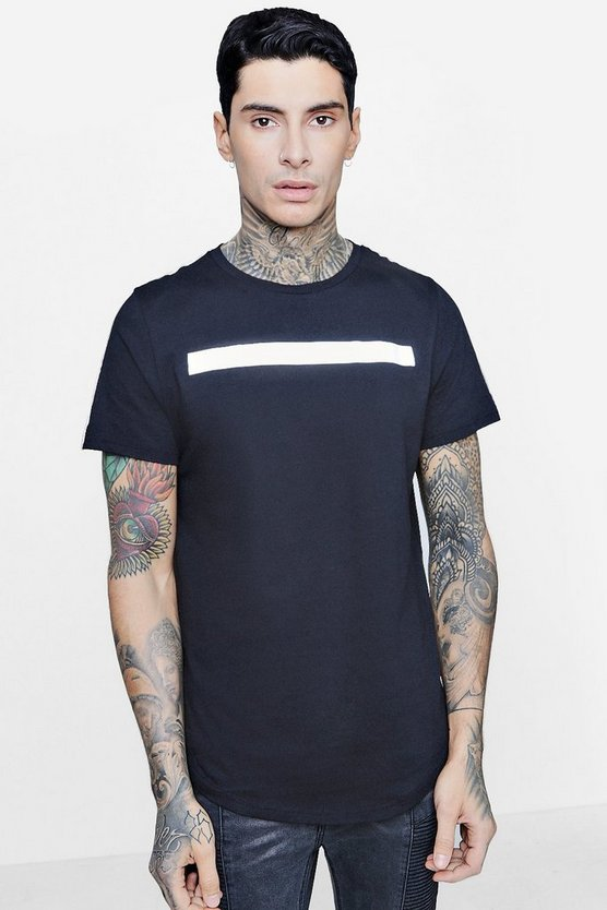 Longline Reflective Print T-Shirt With Curve