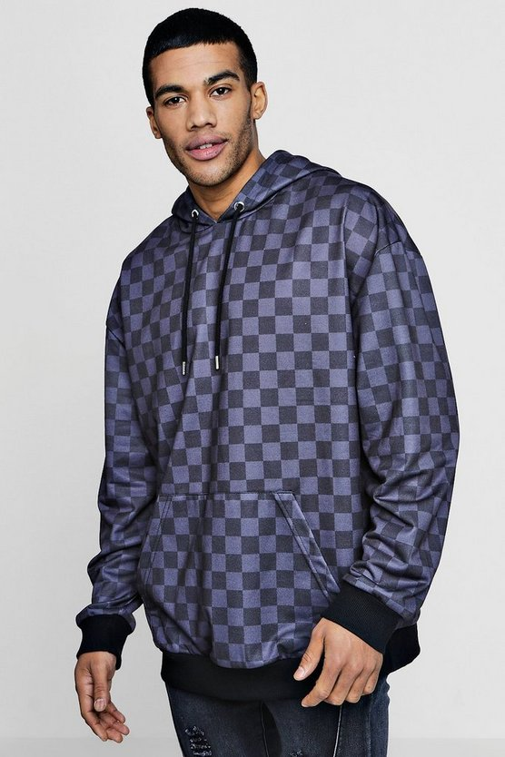 Oversized Checker Board Hoodie