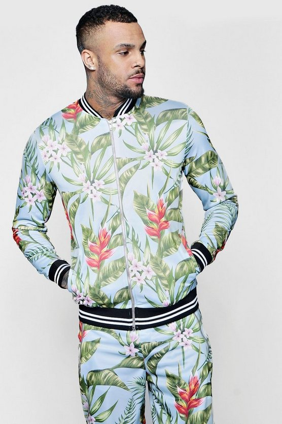 Floral Bomber With Sports Rib Co-ord