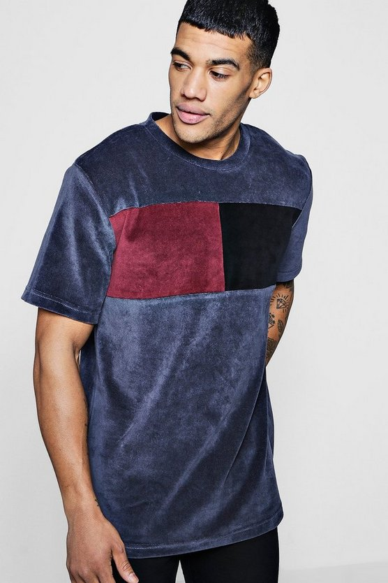 Longline Colour Block Velour T-Shirt