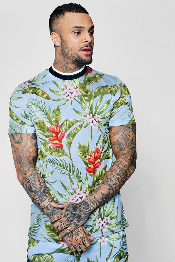 Floral Sublimation T-Shirt With Sports Rib