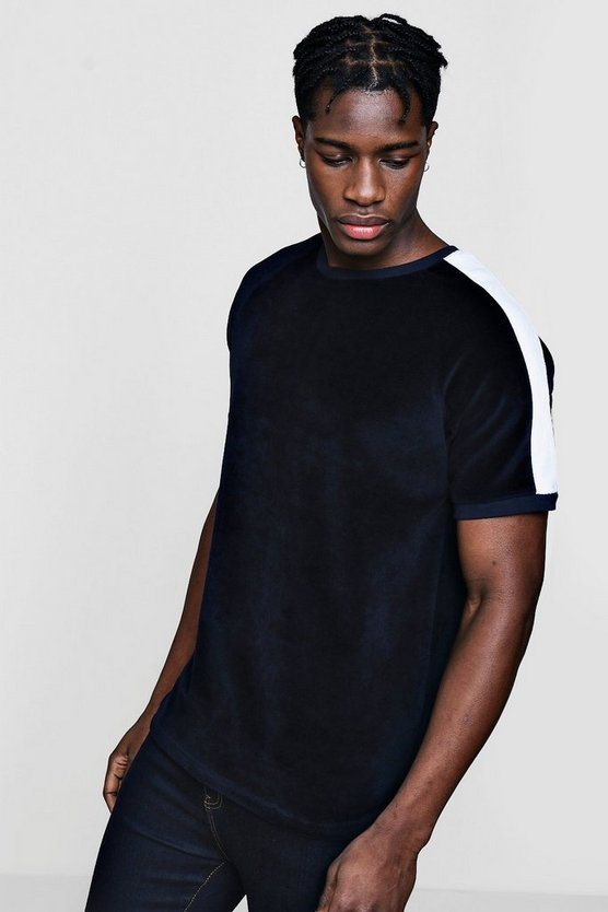 Contrast Panel Velour T-Shirt With Curve Hem