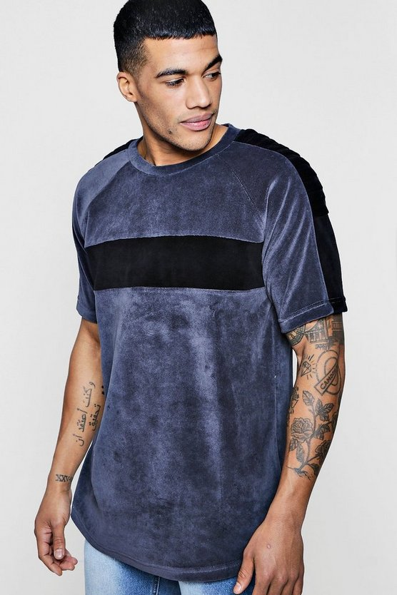 Longline Biker Velour T-Shirt With Curve Hem