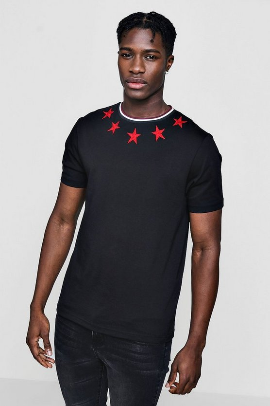 Star Embroidered T-Shirt With Rib Neck