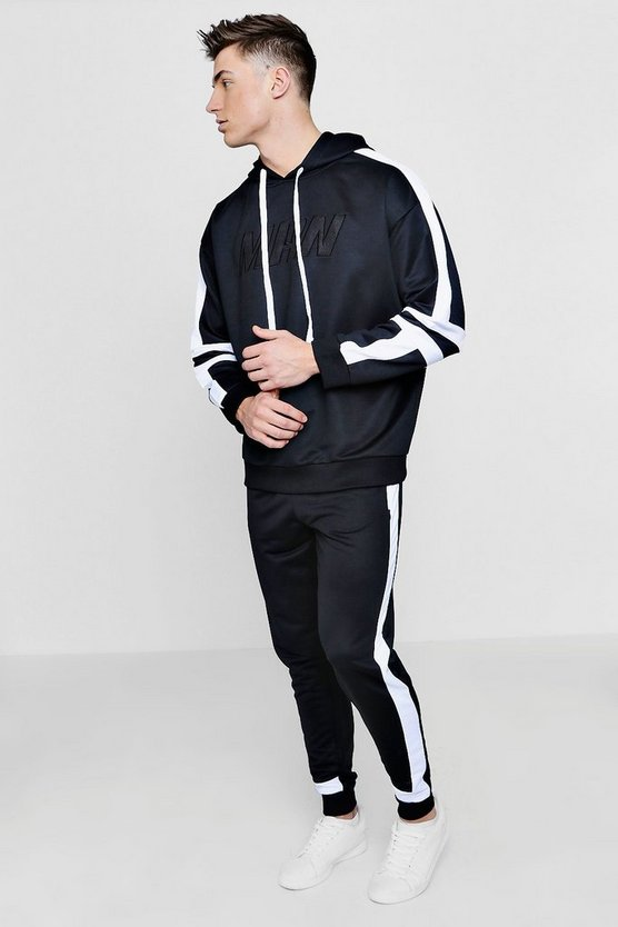 Oversized Black MAN Tracksuit With White Panelling