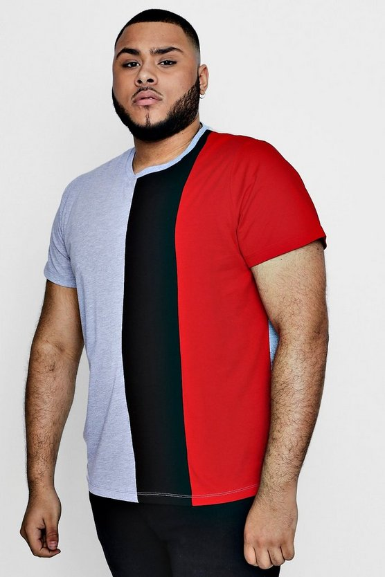 Big And Tall Three Panel Colour Block T-Shirt