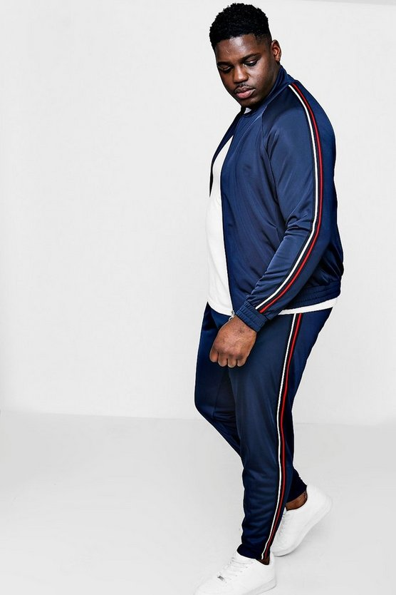 Big And Tall Funnel Neck Tracksuit With Tape