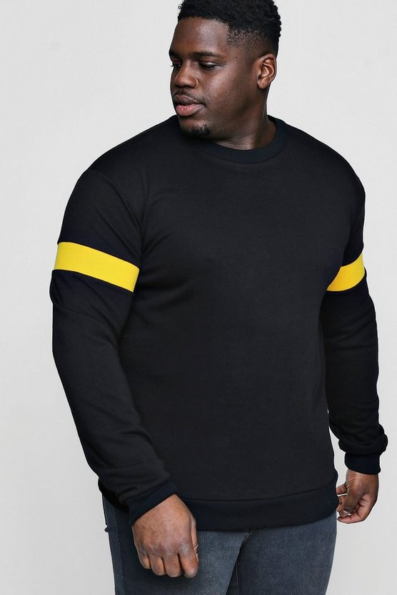 Big And Tall Sweater With Rib Insert