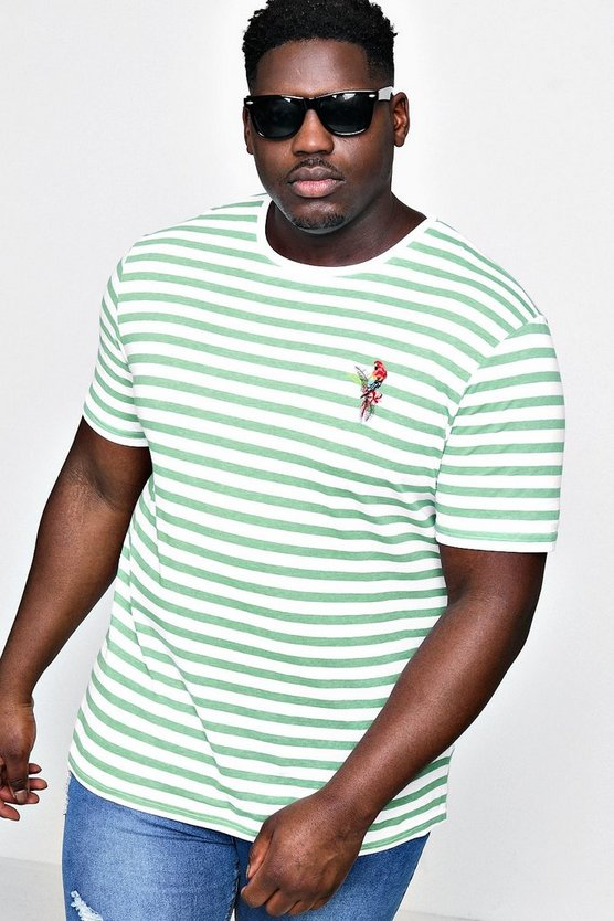 Big And Tall Stripe T-Shirt With Embroidery