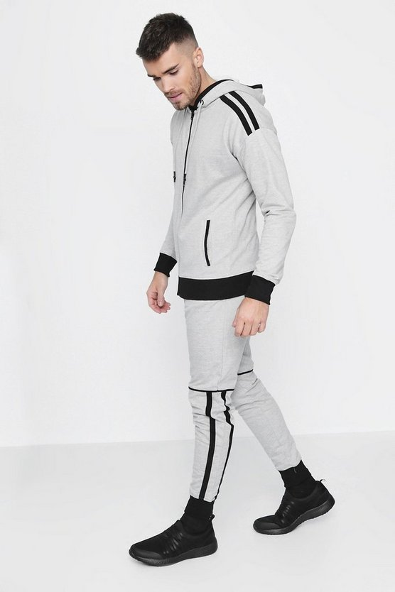 Skinny Fit Stripe Panel Hooded Tracksuit