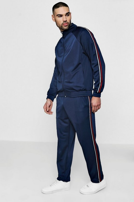 Funnel Neck Tracksuit With Side Tape