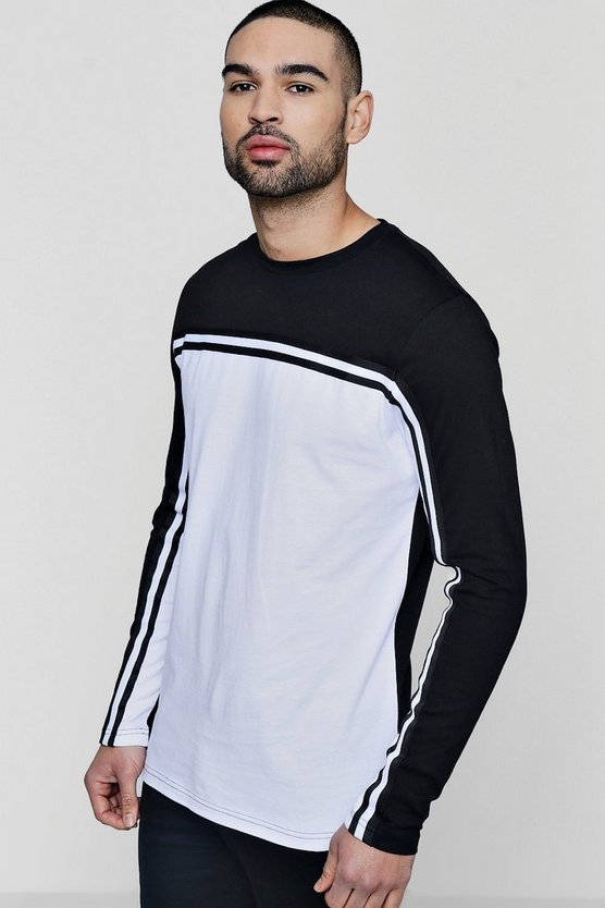 Long Sleeve Colour Block T-Shirt With Taping