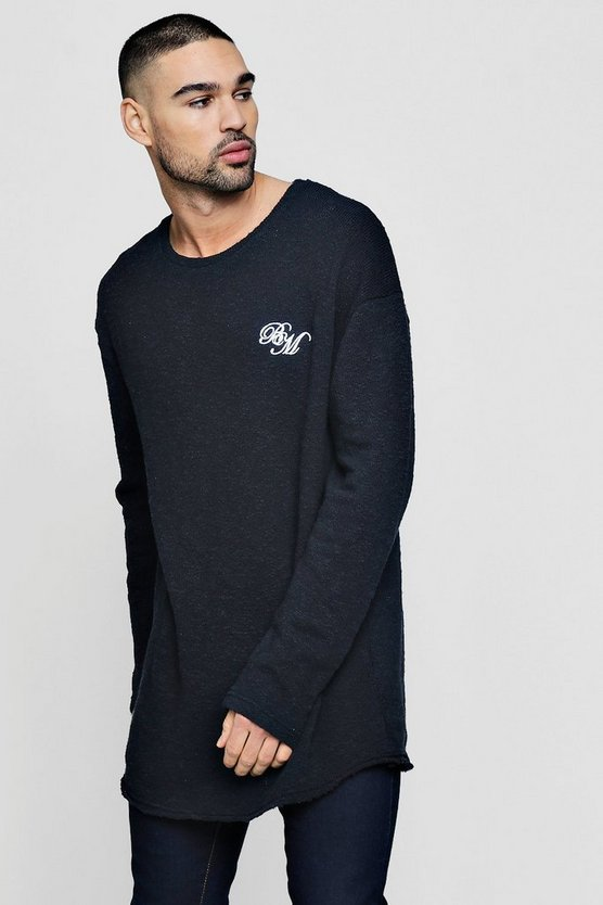 Long Sleeve MAN Embroidered Jumper With Curve Hem