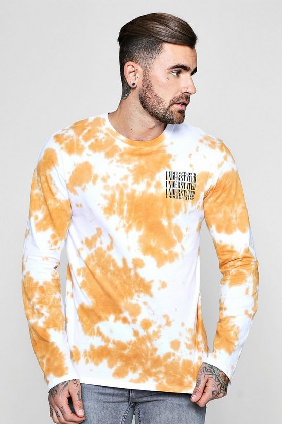 Long Sleeve Tie Dye T-Shirt With Print