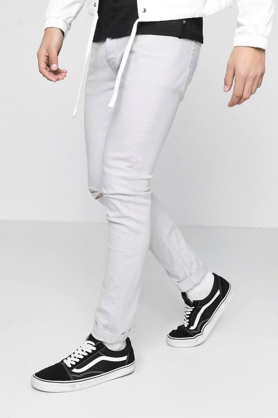 Skinny Fit Jeans with Ripped Knee in Stone