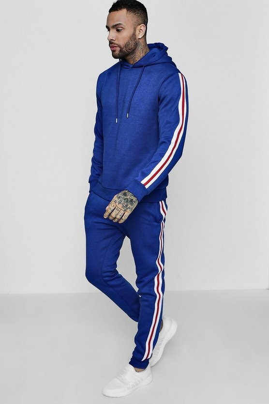 Over The Head Hooded Tracksuit With Side Tape
