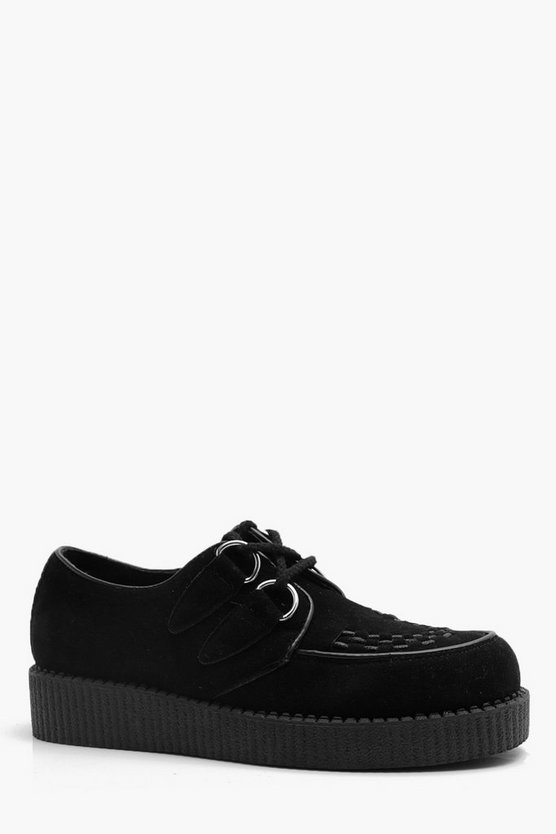 Faux Suede Lace Up Creeper