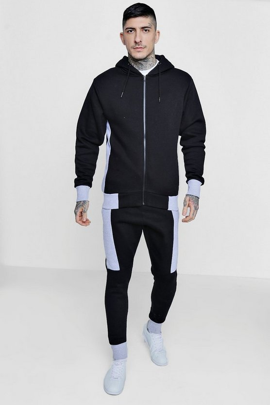 Skinny Fit Hooded Colour Block Tracksuit