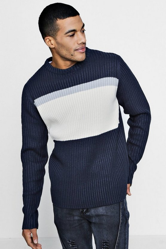 Colour Block Long Sleeve Jumper