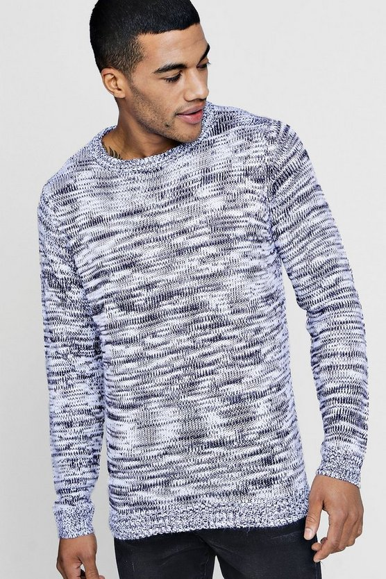 High Neck Salt and Pepper Knitted Jumper