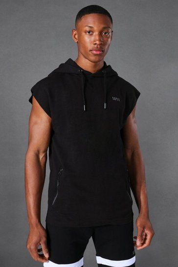 Black Active Sleeveless Gym Hoodie