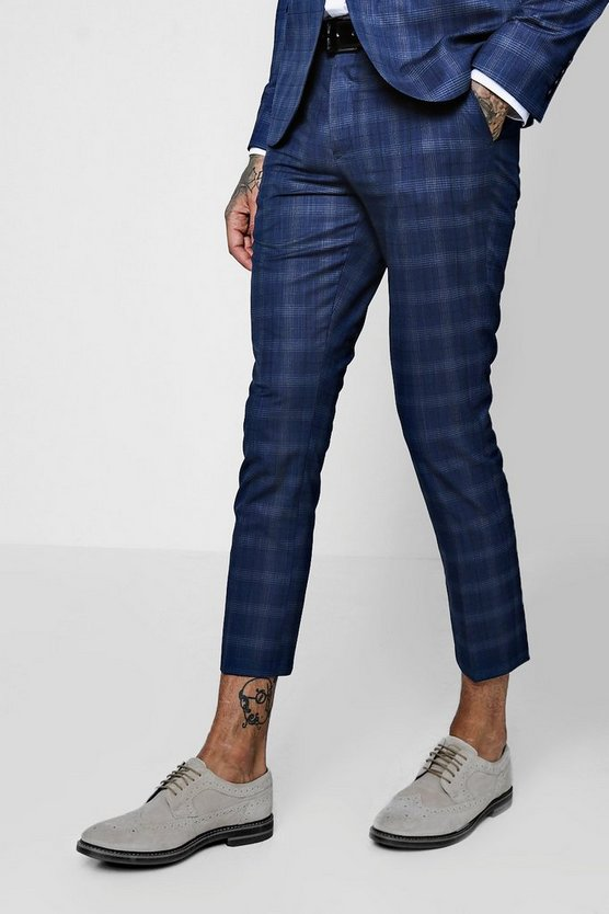 Check Skinny Fit Cropped Suit Trouser
