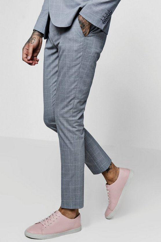 Window Pane Check Skinny Fit Suit Trouser