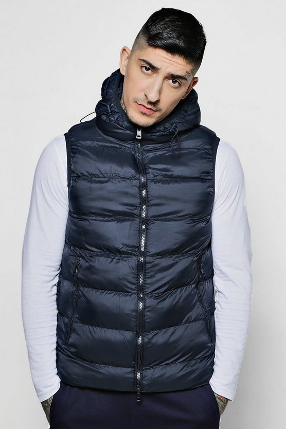 Sleeveless Puffer With Hood