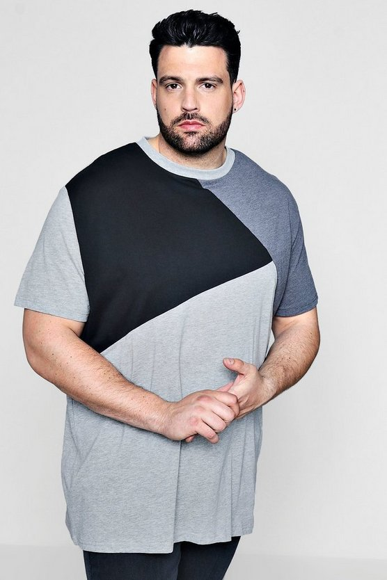 big and tall T-shirt a sezioni con blocchi di colore