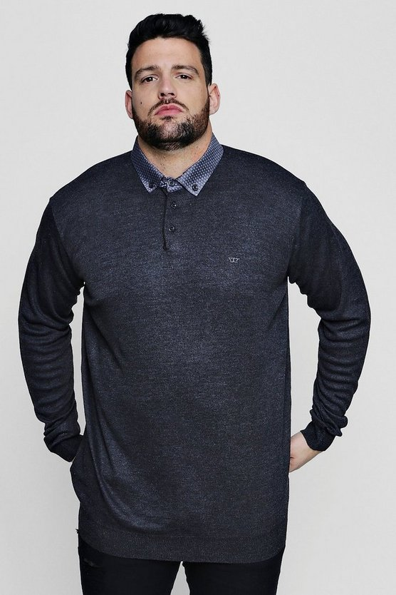 Big And Tall Long Sleeve Knitted Polo