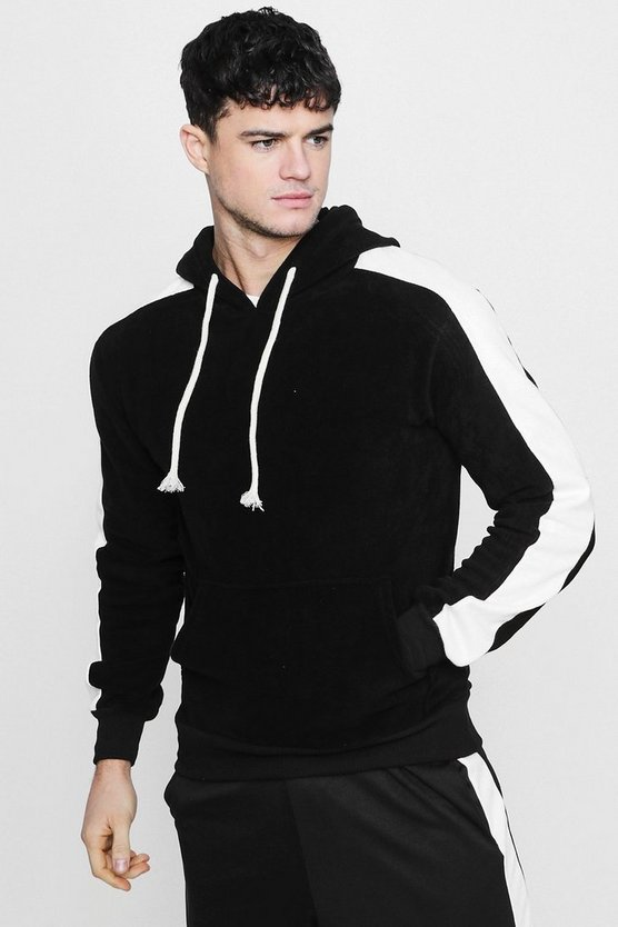 Panelled Velour Sleeve Over The Head Fleece Hoodie