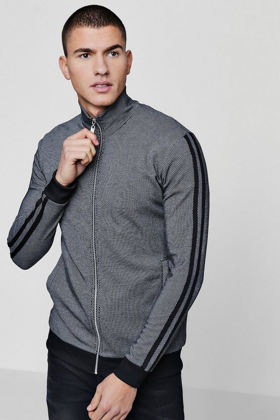 Textured Bomber With Stripe Detail